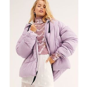 Free People Hailey Puffer Coat Lilac Cloud S